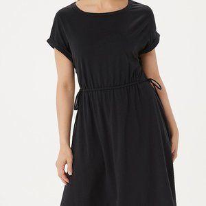 XS AnyBody Cozy Knit Cinched Waist Black Dress
